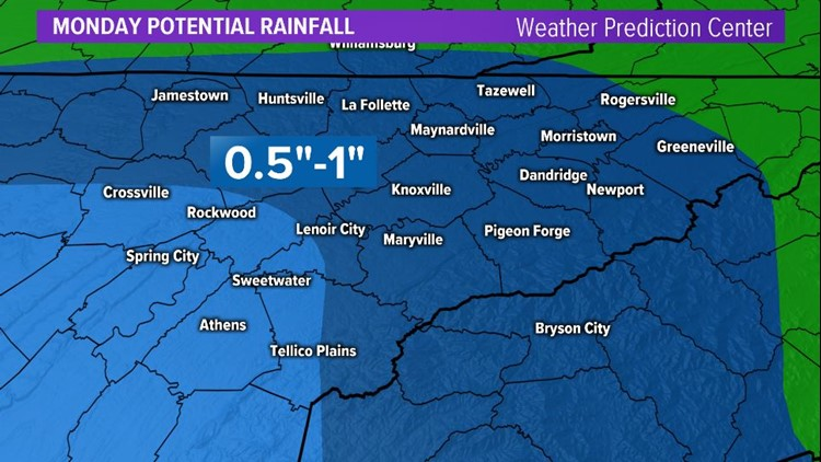 Monday potential rainfall totals