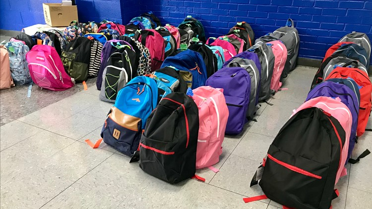 Backpacks were donated to Claxton Elementary School by the Vendetta's Motorcycle Club
