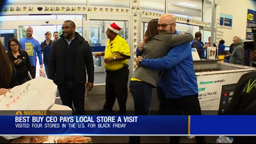 Best Buy CEO surprises store employees with gifts