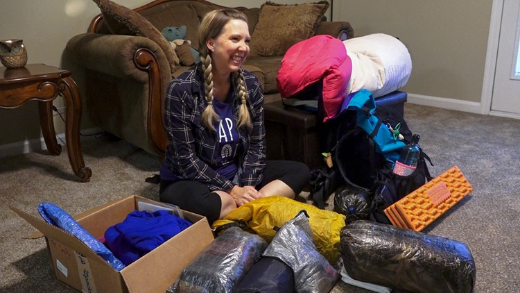 Gretchen Pardon packing for Appalachian Trail