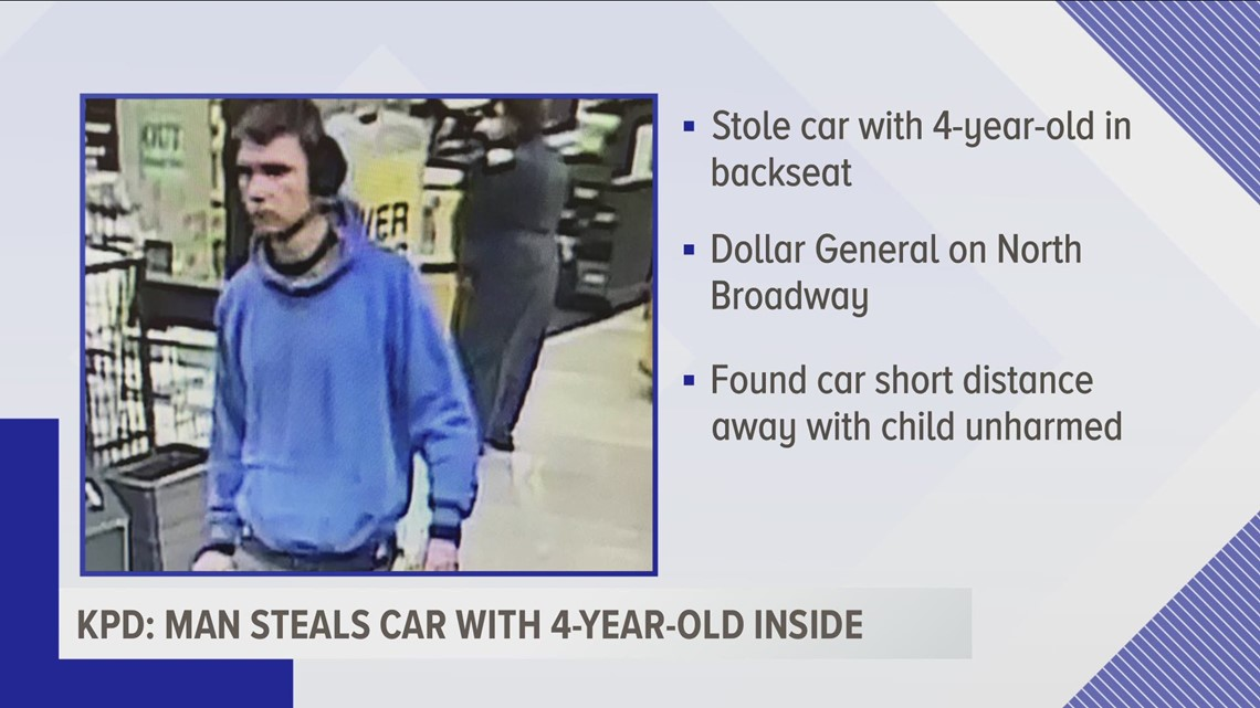 KPD: Man steals car with child inside