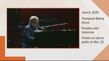 Elton John to hold concert in Knoxville in 2020