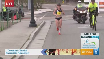 Gina Rouse leading the women in the 2019 Covenant Health Knoxville Marathon
