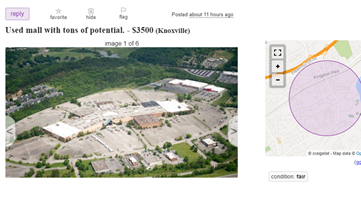 'Looking to sell or trade to a new riding mower': Someone jokingly put Knoxville Center mall up for sale on Craigslist