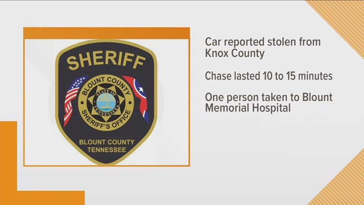 Blount County chase ends after car hits tree
