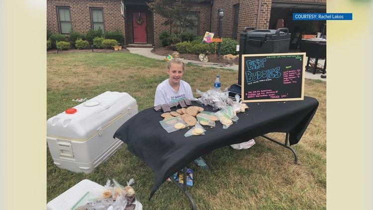 Manhattan Carlen raised money with a combination lemonade stand bake sale