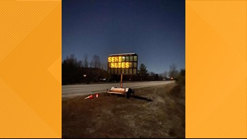 """Digital roadwork sign along KY 92 hacked in Whitley County to say: """"SEND NUDES"""""""