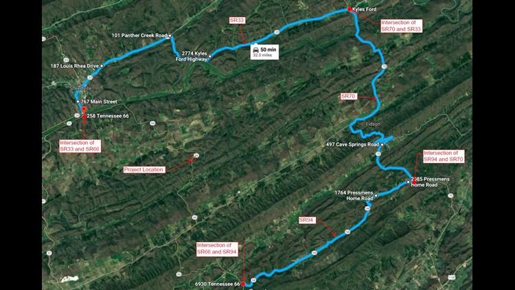Detour route around landslide closure on SR 66