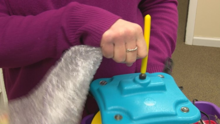 Buttons and joy sticks and even special blowing devices allow children to interact with toys