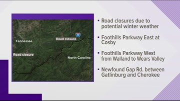 Foothills Parkway, Newfound Gap Road closed
