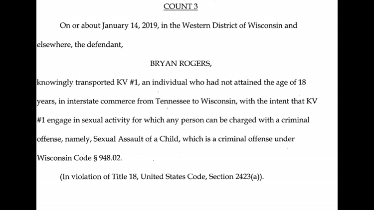 Count that Bryan Rogers would plead to in agreement with federal prosecutors.