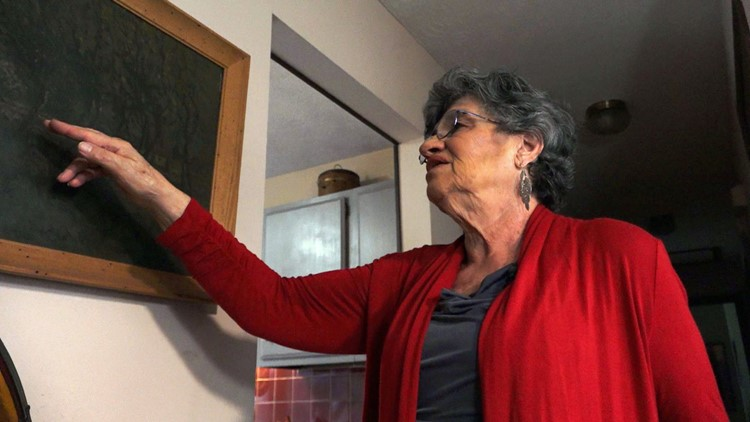 Holocaust survivor Sonja DuBois points to a painting by her father who was killed at Auschwitz