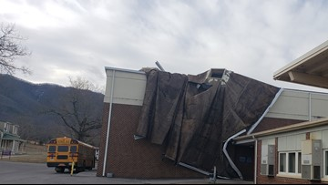 Camp Creek Elementary dismisses early after high wind damages gym roof