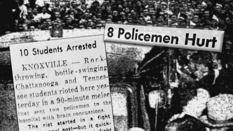 1958 Chattanooga Tennessee Vols Riot Arrests Police Hurt headlines