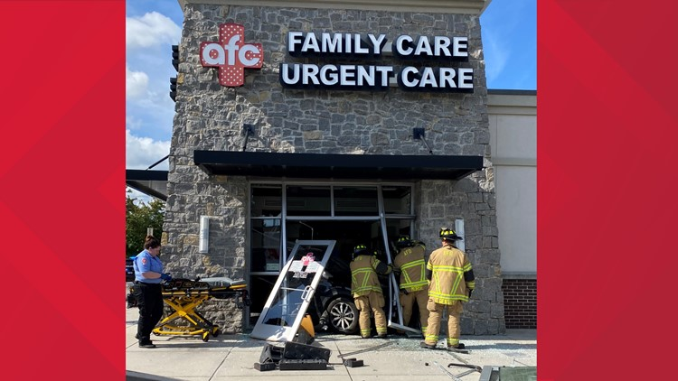 Vehicle crashes into Alcoa urgent care facility, pinning patient's arm