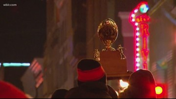 Central HS parades state championship trophy down Gay Street