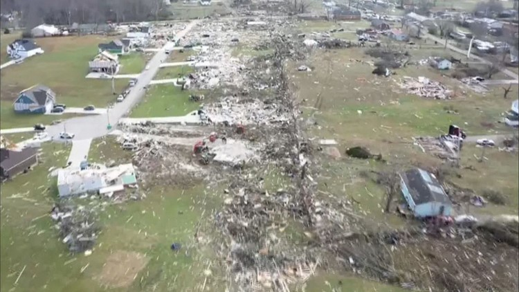Drone footage of tornado damage in Cookeville along Hensley Drive