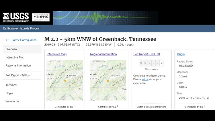 Earthquake two near Greenback