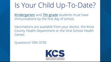 Knox County Schools reminds parents of first-day-back immunization requirements