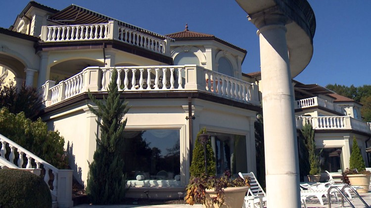 Marble columns, rails, and floors abound throughout the Villa Collina.