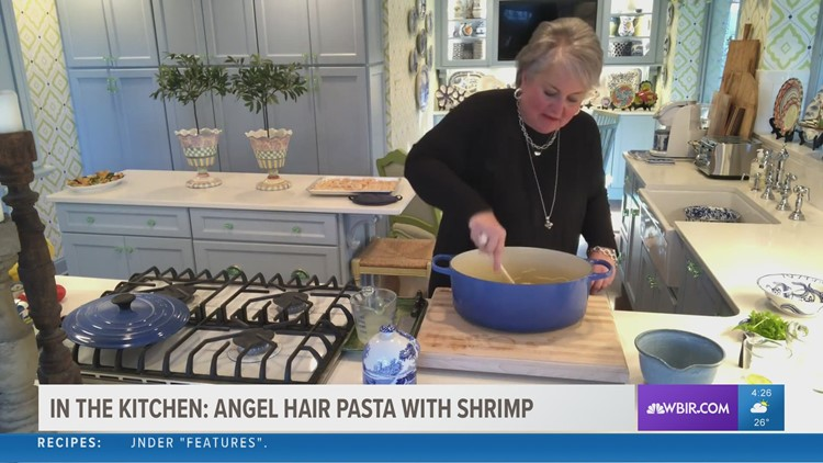 In the kitchen: angel hair pasta with shrimp