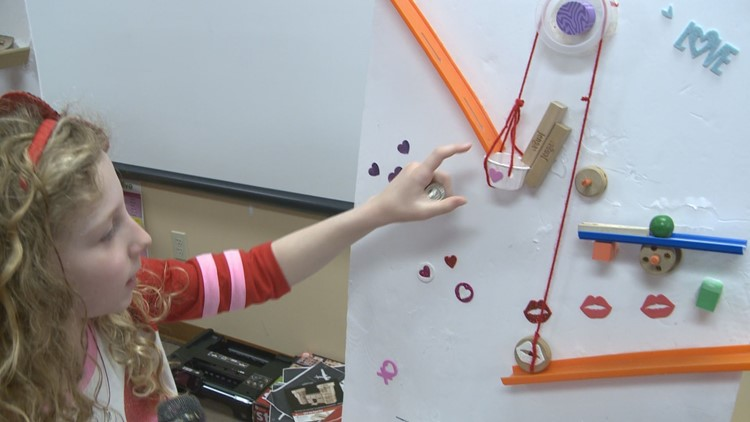 This Valentine delivery system features inclined planes and a pulley