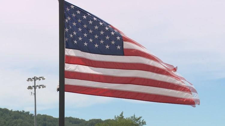 American flag at the veterans wall in Maynardville