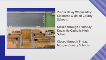 Some schools delayed Wednesday, others closed for rest of