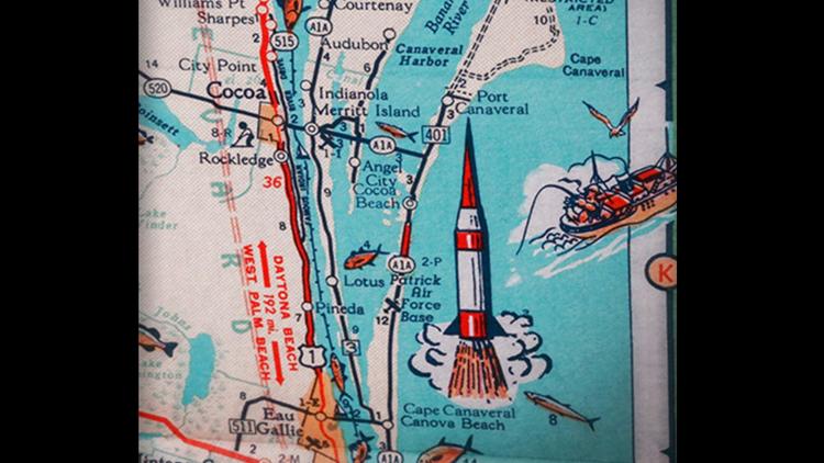 "Vintage postcard of Florida's ""Space Coast,"" including rocket image."