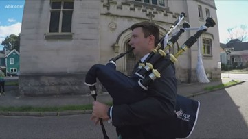 Bagpiper uses talent to #sendthelove and fight hunger