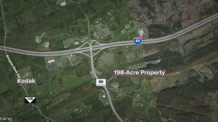 Map of the 198-acre property purchased by the EBCI in Sevier County at I-40 Exit 407