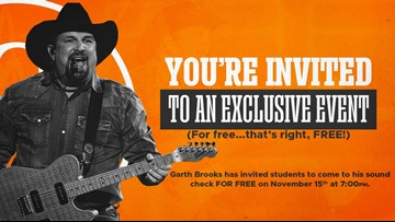 UT students get to watch Garth Brooks' Neyland Stadium soundcheck for free!