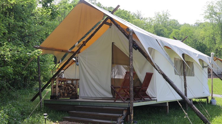 Look how cute my glamping tent is