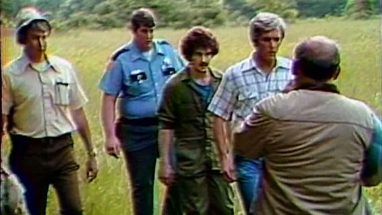 Nicky Sutton leads authorities on a search for murder victims' graves in May 1980