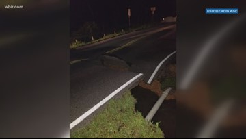Rain washes out part of road in Crossville