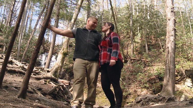 Newlyweds David Holly Gatto Cataract Falls Great Smoky Mountains