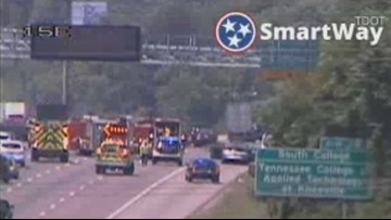 Cargo fire on I-40 West near Papermill Drive out after blocking traffic