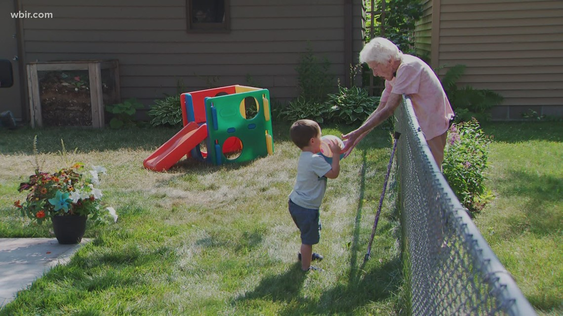 He's 2 years old. She's about to turn 100. They've formed a friendship across their backyard fence