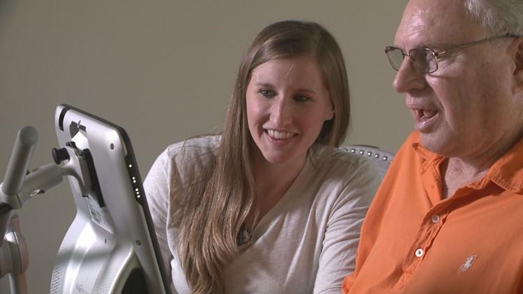 Speech-Language Pathologist Amanda Simmons practices with Bayard Erskine