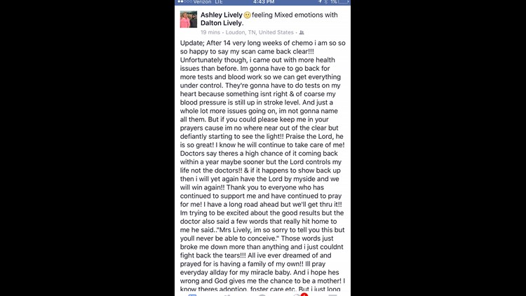 A Facebook post Ashley Lively made several months ago