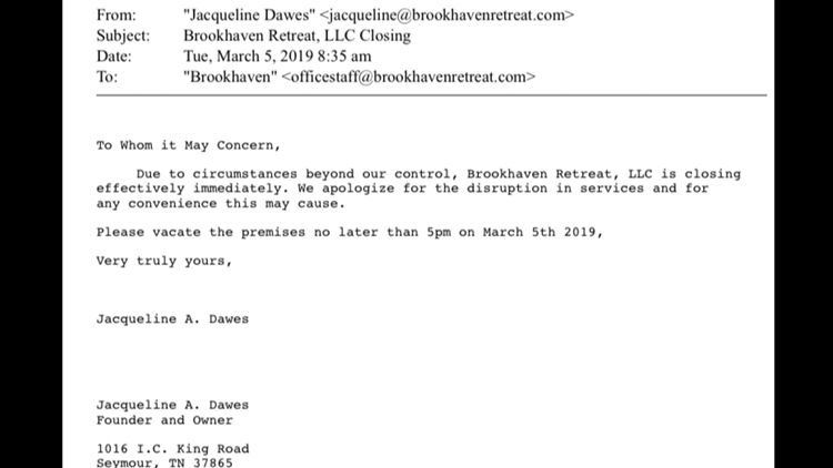 Notice from Jacqueline Dawes about Brookhaven's sudden closure.