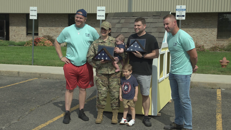 Family of veteran surprised with donations of playhouses for children