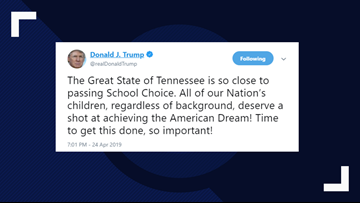 President Trump encourages Tennessee lawmakers to pass Gov. Lee's voucher bill