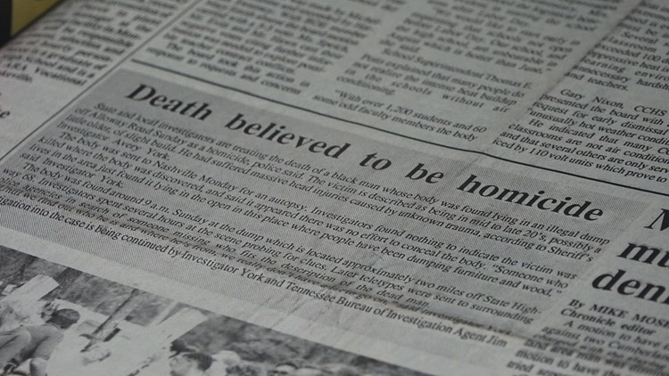 A photograph of the 1990 article describing the unidentified body.