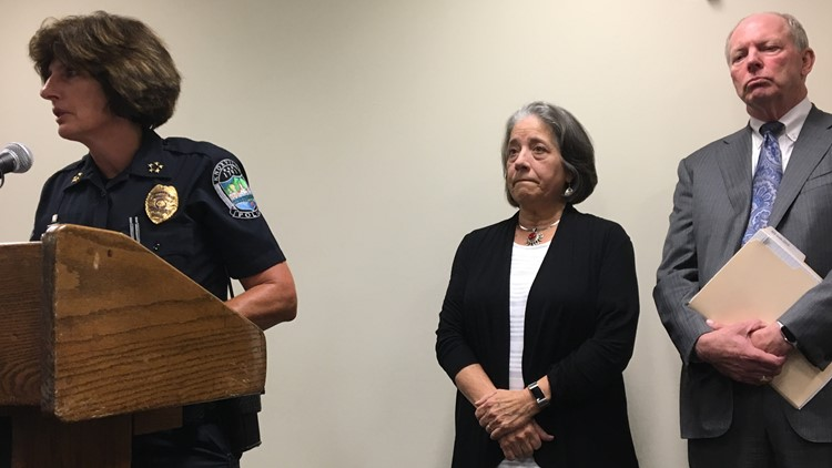 KPD Chief Eve Thomas addresses reporters Thursday as Mayor Madeline Rogero and city Law Director Charles Swanson listen.