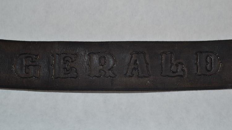 Gerland stamped on leather belt