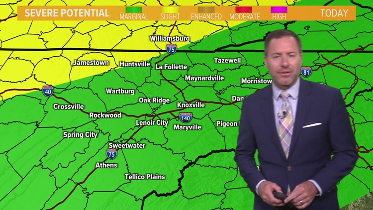 Strong to severe storms possible Monday afternoon and evening