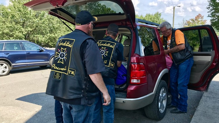 Vendetta's Motorcycle Club drops off backpacks at Claxton Elementary School