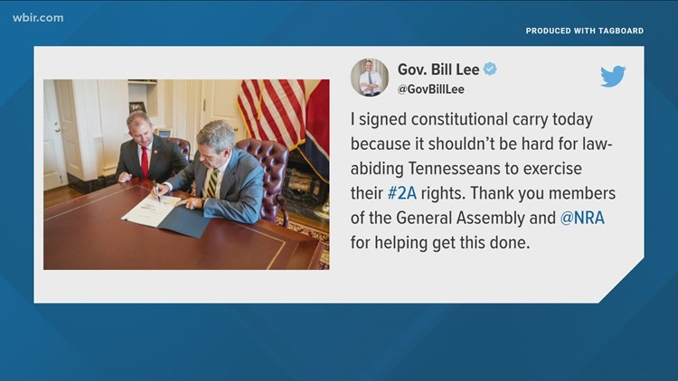 Governor Bill Lee signs permitless carry bill into law