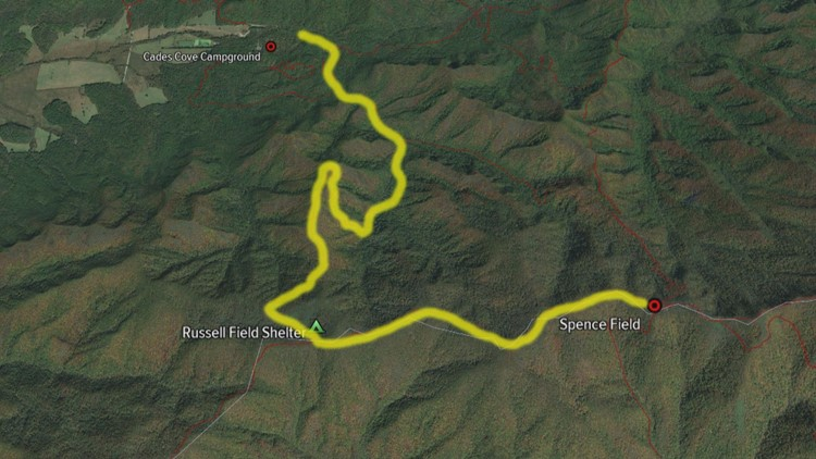 Map Cades Cove to Russell Field and Spence Field Dennis Martin